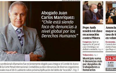 """[El Mercurio de Valparaíso] Juan Carlos Manríquez: """"Chile está siendo foco de denuncias a nivel global por los DD.HH."""""""